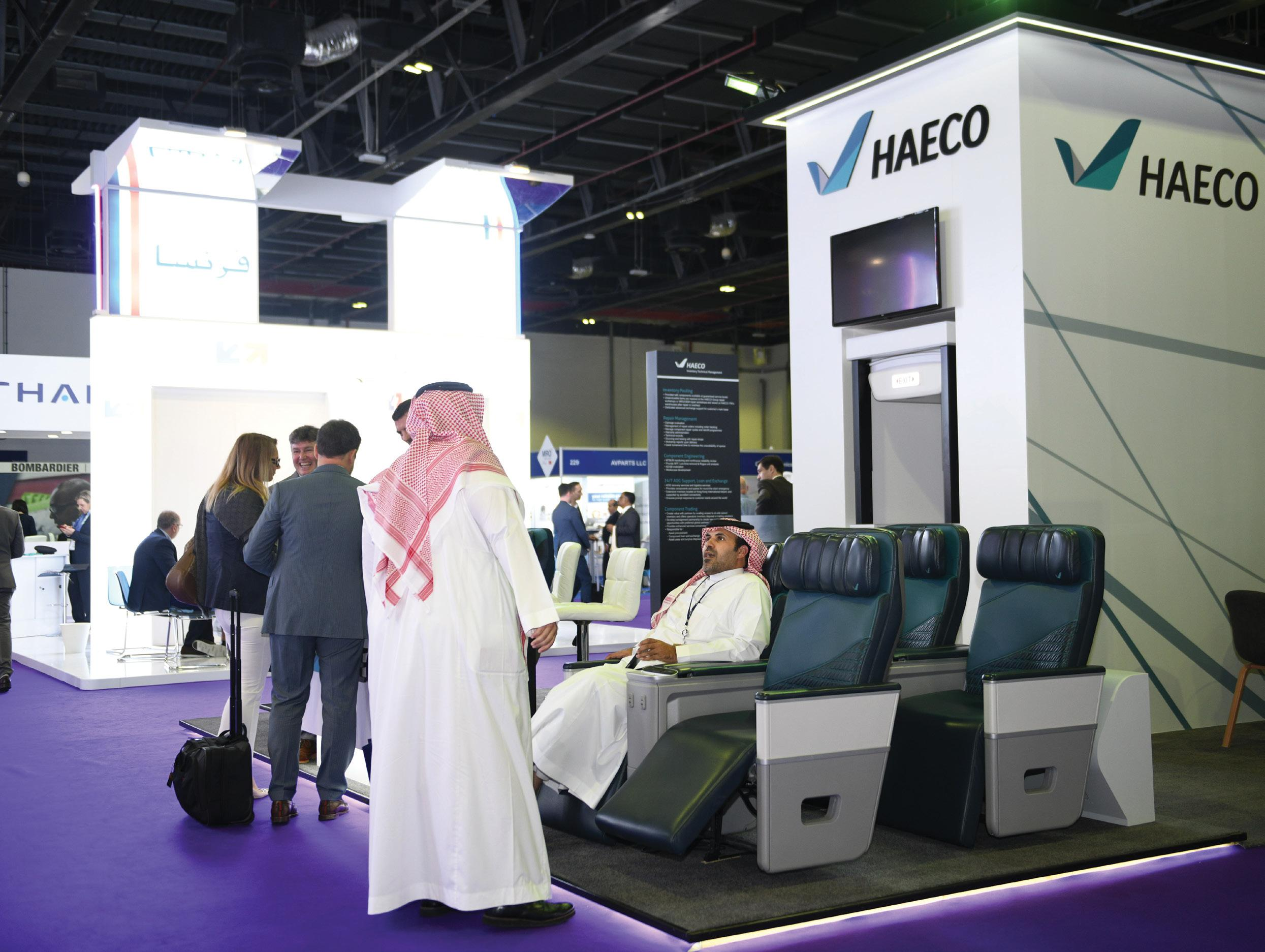 Page 50 of EYE ON IFEC This year's Aircraft Interiors Middle East teamed IFE and connectivity with maintenance, repair and overhaul in a two-day event at the Dubai World Trade Centre