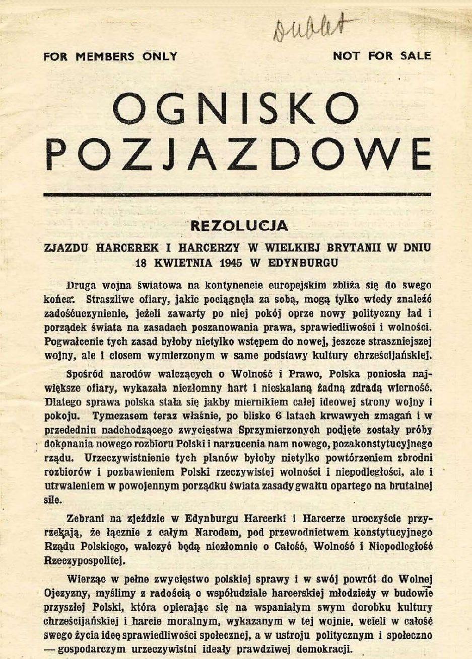 Page 72 of Dokumenty z 1 zjazdu harcerskiego w Wlk.Brytanii 17-18.04.1945