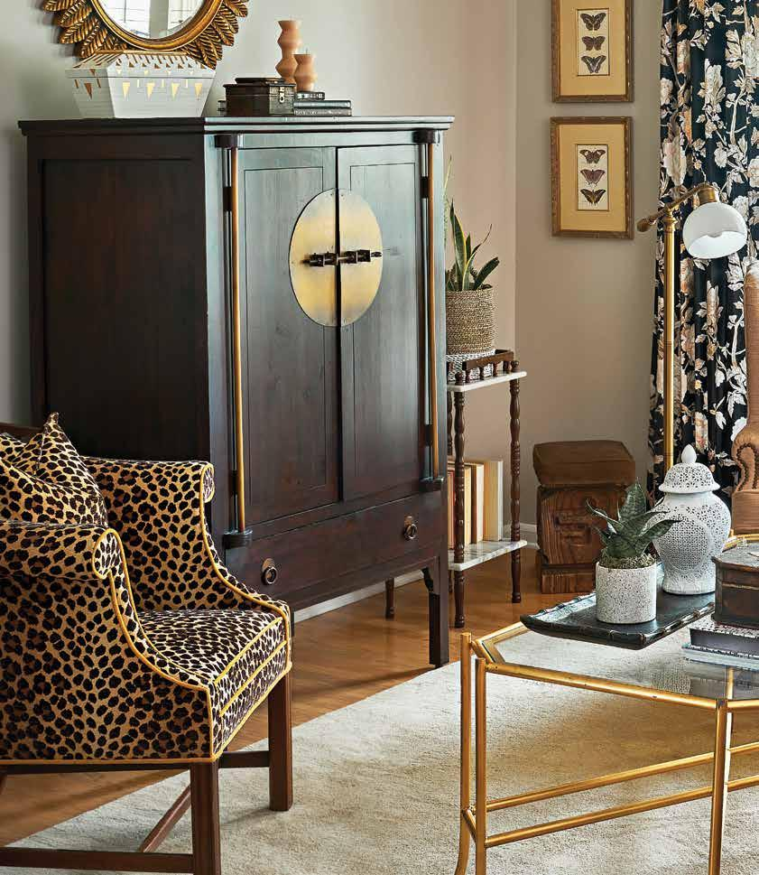 Page 68 of TAKING ROOT  Wanting to live in color and to be reminded ofher roots, designer Cheryl Luckett's home is filled with pattern, color, casual elegance, and Southern tradition with a global twist