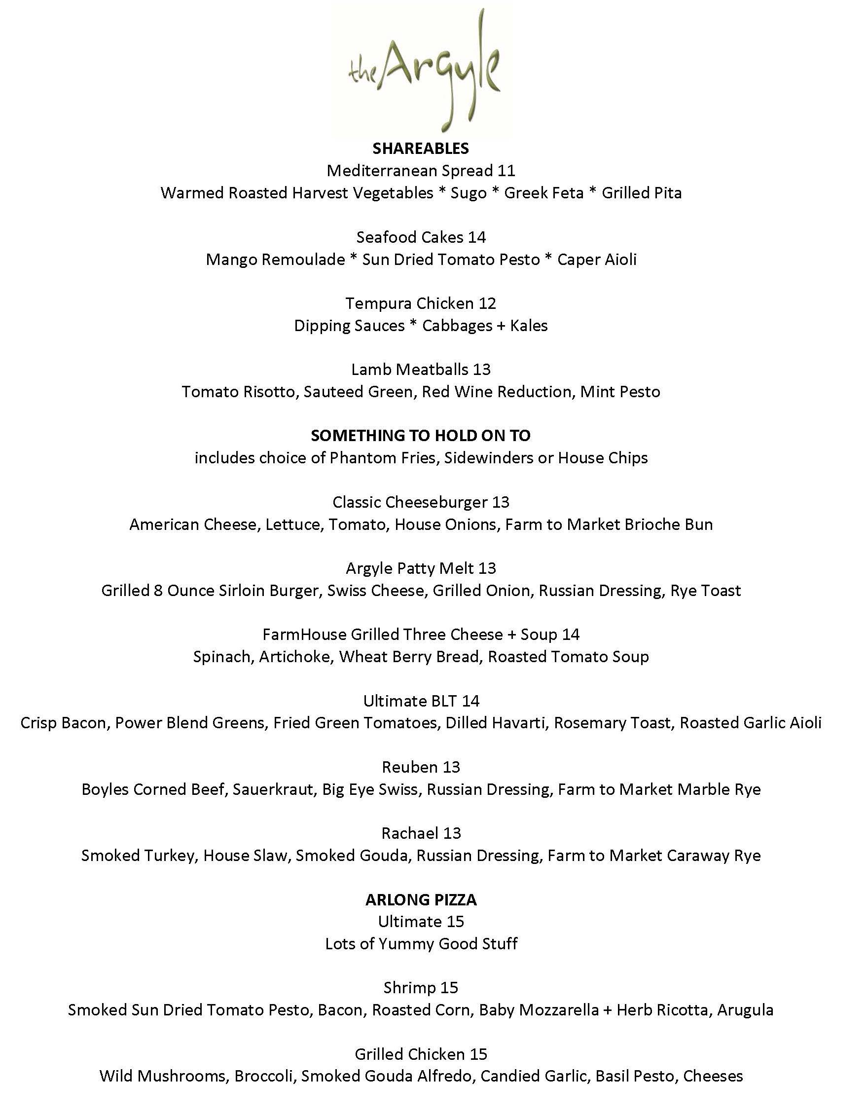 Page 22 of New Menu at the Argyle