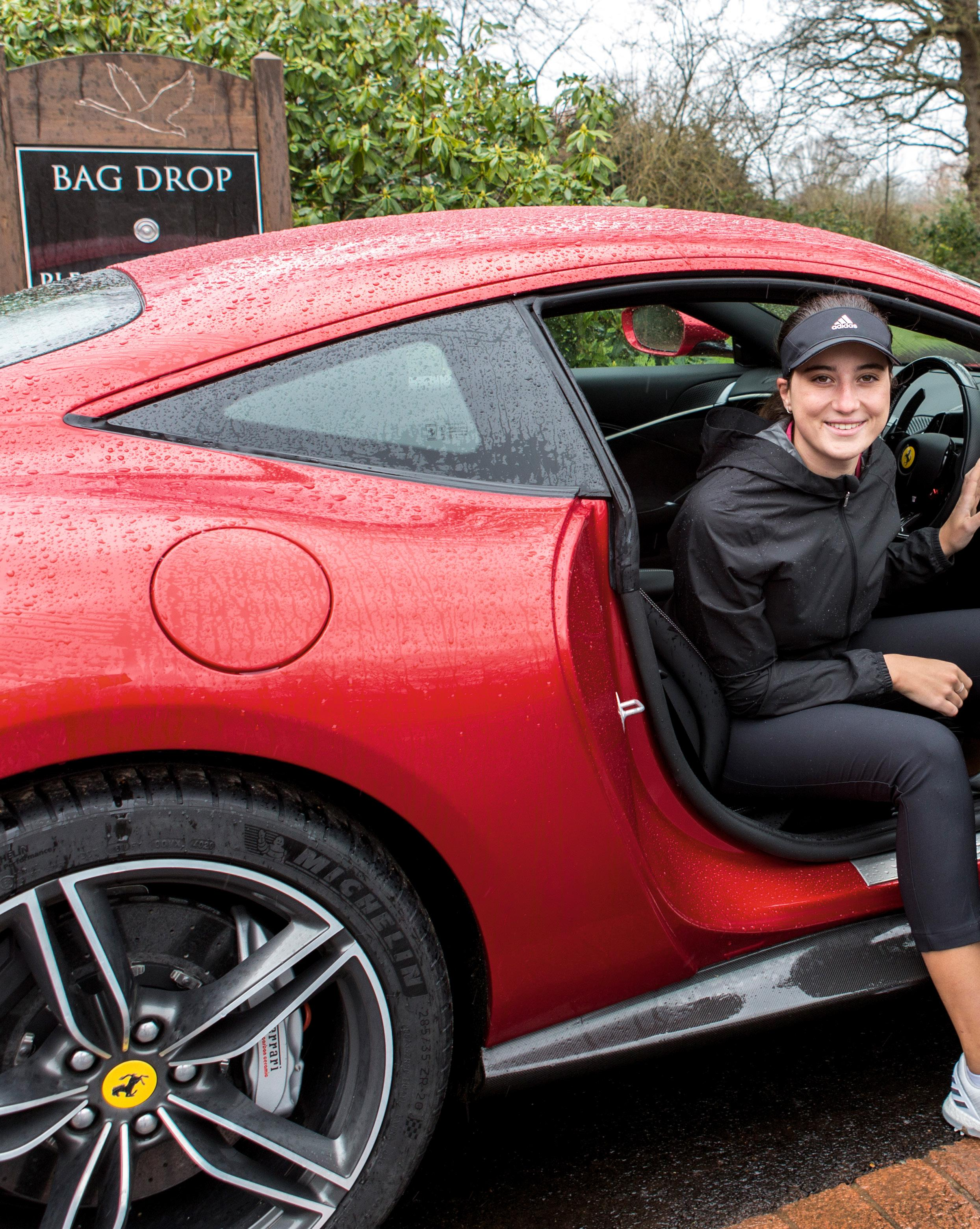 Page 34 of A future star in a dream car We take up-and-coming golf talent Thalia Kirby for a spin in the Ferrari Roma