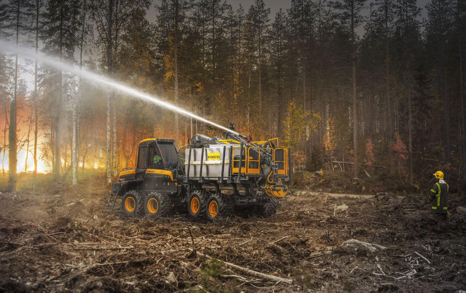 Page 32 of Ponsse introduces fire fighting equipment for forwarders with a 47-metre reach in rugged terrain