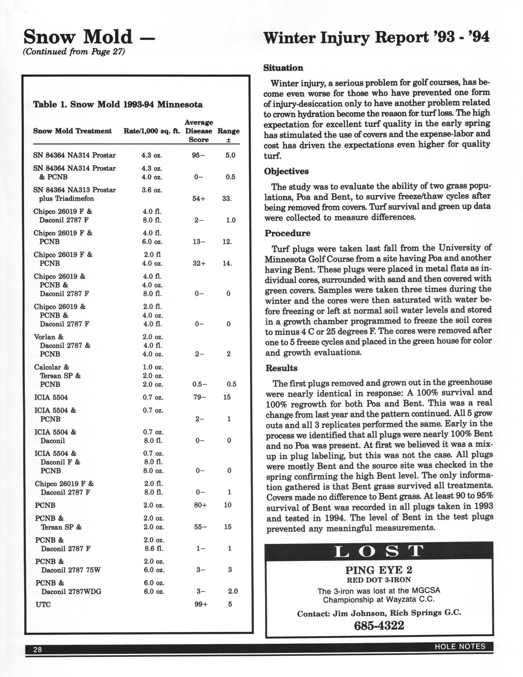 Page 46 of Snow Mold Research 1993-94 pages 46